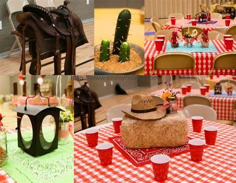 tin  center pieces   cowboy themed party