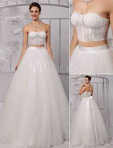 Two pieces strapless lace corset crop top ball gown for Corset top and skirt wedding dress