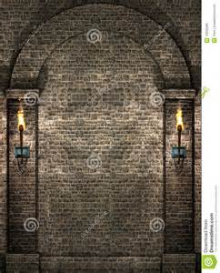 Halloween Backdrops Scene Setters by Stone Wall With Torches Royalty Free Stock Image Image