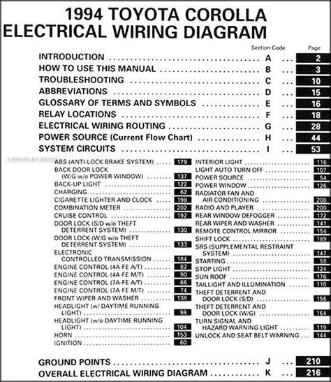 1994 Corolla Wiring Diagram by 1994 Toyota Corolla Wiring Diagram Manual Original