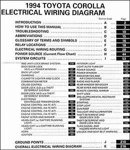 1994 Toyota Corolla Wiring Diagram Manual Original