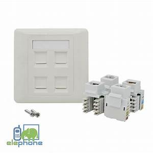 4 Port Cat6 Rj45 Network Faceplate Face Plate Single Gang