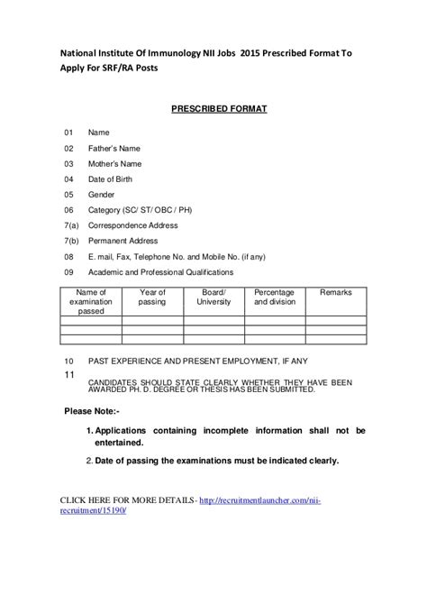 resume aplication in prescribed format national institute of immunology nii 2015 prescribed
