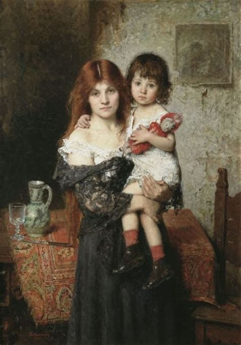 mother victorian paintings child daughter children alexei daughters son baby oil