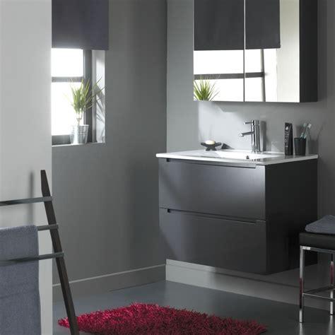 meuble de salle de bain 80 cm 2 tiroirs gris laqu 233 ref