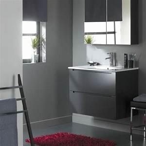 Meuble Salle De Bain Gris : meuble de salle de bain 80 cm 2 tiroirs gris laqu ref ~ Preciouscoupons.com Idées de Décoration