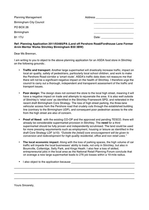 Objection letter template | Super Stirchley