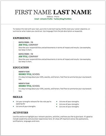 resume templates   customize  microsoft word