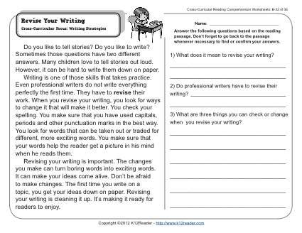 revise your writing 2nd grade reading comprehension worksheets