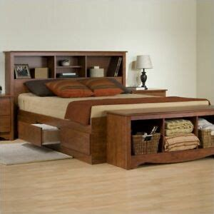 King Size Bed With Bookcase Headboard by Contemporary Cherry 6 Drawer King Size Platform Storage