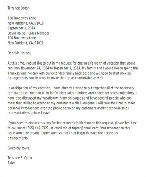 application letter  holiday leave   write