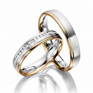 His hers mens womens matching 14k white and rose gold for Two tone wedding rings for women