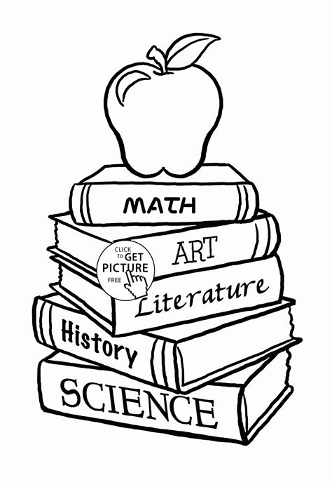 School Books and Apple coloring page for kids, back to
