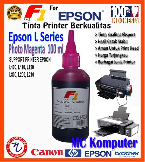 F1 Ink Epson 100 Ml Magenta jual f1 ink tinta refill for printer epson l series photo