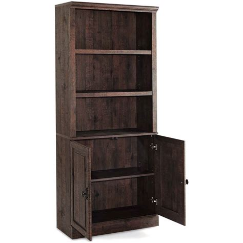 bookcase with storage cabinet 3 shelf bookcase with doors tall cabinet storage wood
