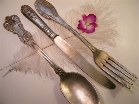 wall oversize fork knife and spoon metallic with