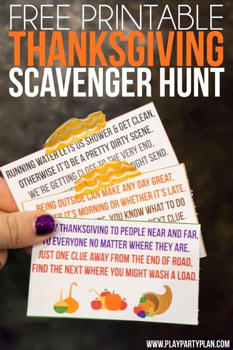 printable thanksgiving scavenger hunt  kids