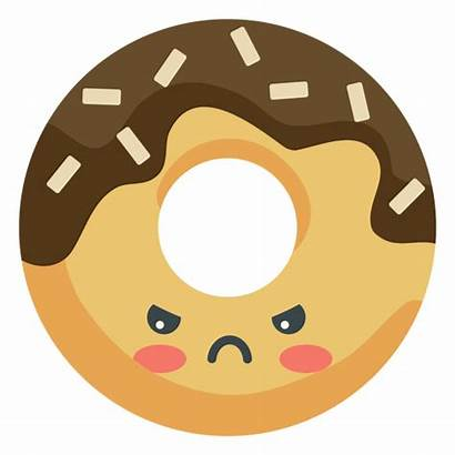 Kawaii Donut Angry Enojado Transparent Raiva Vexels
