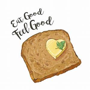 Vector brown bread with butter Vector | Premium Download