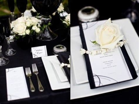 picture of black and white wedding table settings