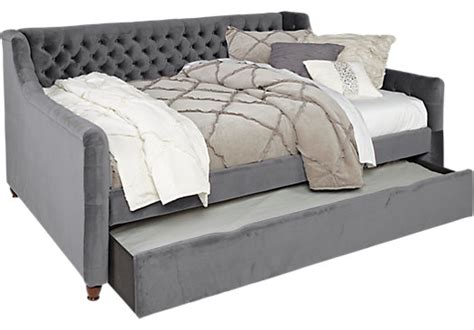 alena charcoal dark gray  pc twin daybed  trundle
