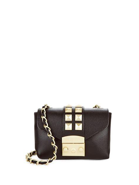 lyst valentino  mario valentino stud design leather mini bag  black