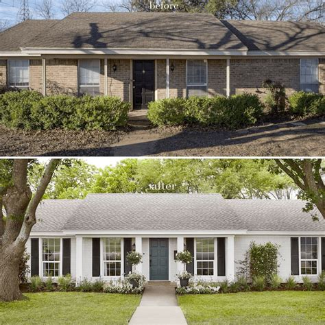 Painting exterior brick before and after grupomatices com co. Joanna Gaines fixerupper before and after ranch in 2020 | Painted brick house, Brick exterior ...