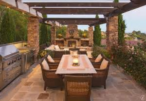 Best Kitchen Flooring On A Budget by Craftsman Patio With Outdoor Kitchen Amp Exterior Stone