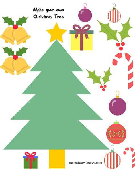 decorate your own christmas tree worksheet craft ideas for 5 free printable cut outs like build your own snowman