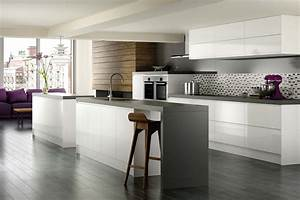 White Kitchen Grey Floor Ideas Photo Gallery - Lentine