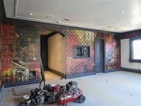 graphic wall murals wrap  interior design los angeles ca