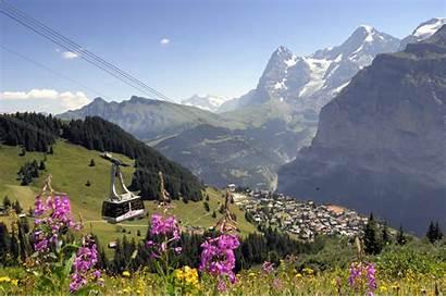 Scenery Switzerland Europe Murren Mountain Alpine Cars
