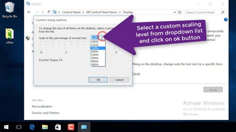 windows 10 how to change dpi scaling level for displays
