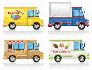 Food delivery vans and minibuses Royalty Free Vector Clip ...