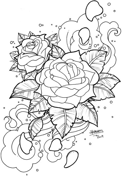 Snake Skull Rose Tattoo Snake n' skull - b&w | king | Rose coloring pages, Flower coloring pages