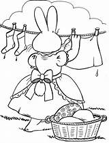 Coloring Clothes Pages Clothesline Hanging Template Easter Sheets Mother Popular Emoji sketch template