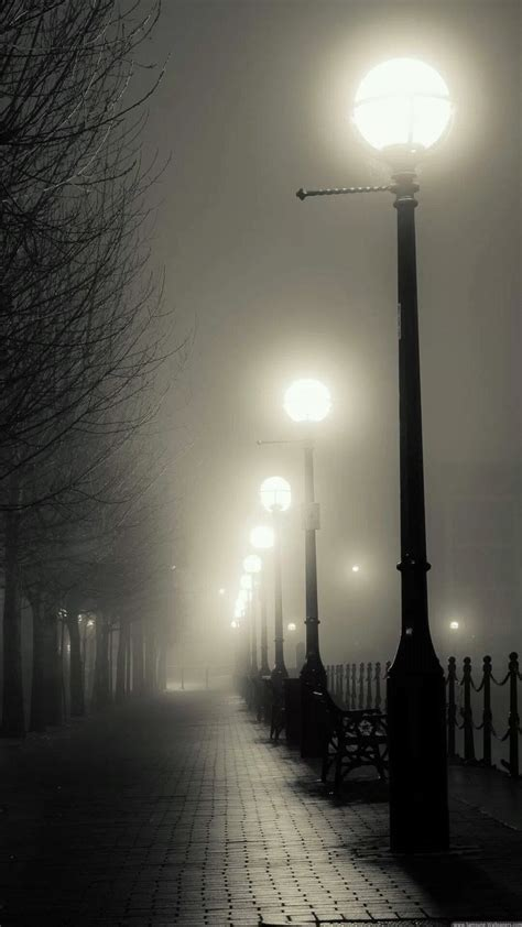 misc iphone   wallpapers foggy street lights iphone