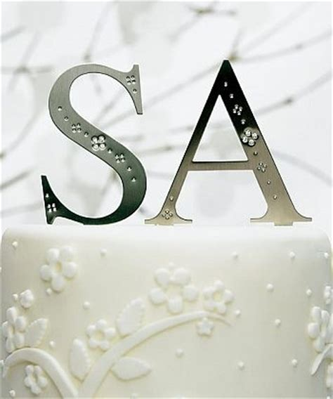 jeweled monogram cake toppers wedding collectibles