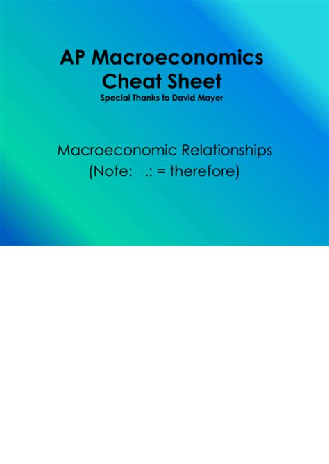 ap macroeconomics cheat sheet printable
