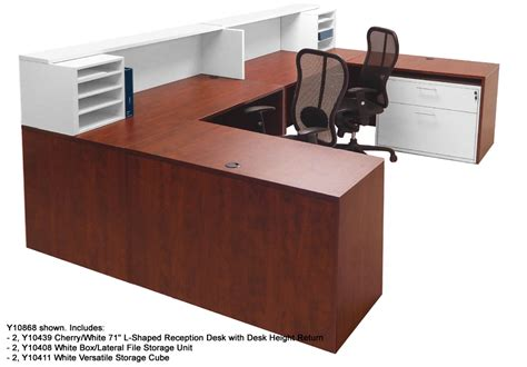 white two person desk two person reception desk white 2 tone reception desks