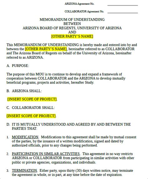Template For A Memorandum Of Understanding by 7 Memorandum Of Understanding Templates Free Word Pdf