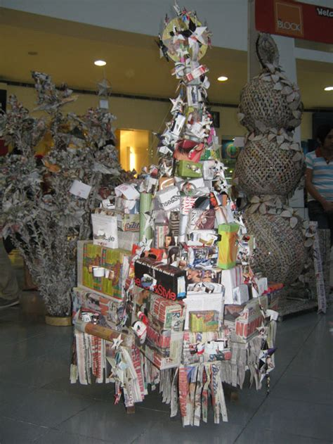 recycled christmas tree contest the manila bulletin newspaper tree contest happens in the philippines on its
