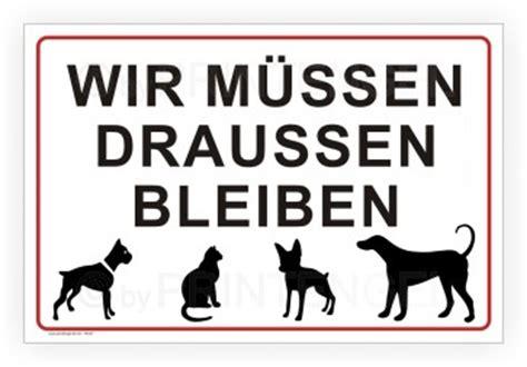 wir muessen draussen bleiben hund katze symbole