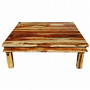 Large square wood rustic coffee table for Big rustic coffee table
