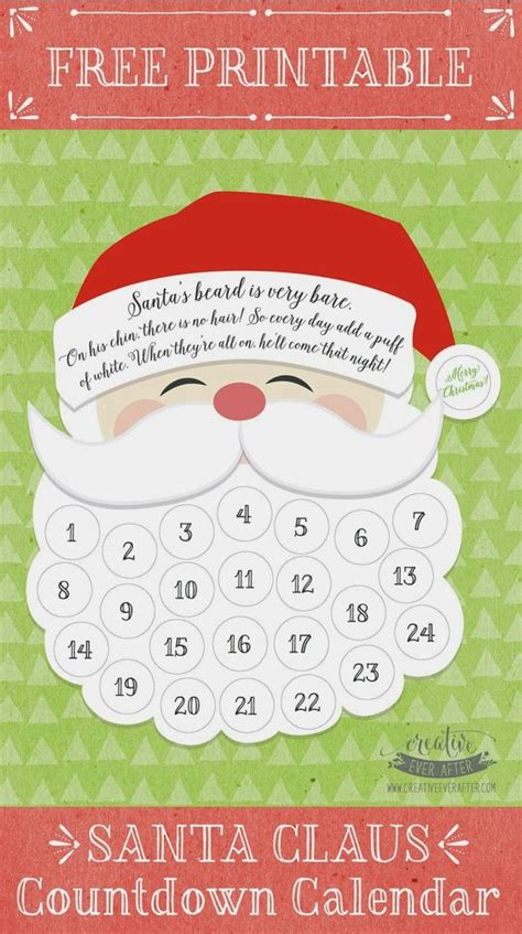 beards countdown calendar and free printable on pinterest