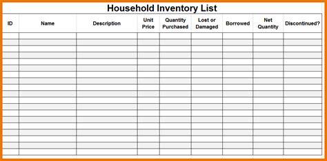 inventory list template premium household inventory checklist template sle vatansun