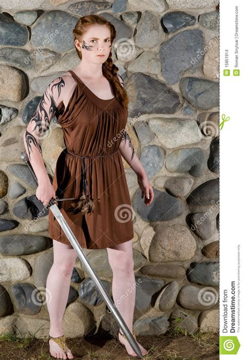 Celtic warrior girl stock photo. Image of attractive ...