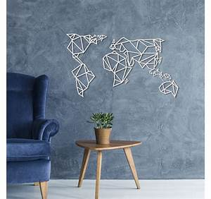 Deco Murale Metal Noir : d coration murale m tal carte du monde blanche artwall ~ Dallasstarsshop.com Idées de Décoration