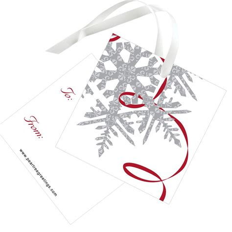 silver snowflake christmas gift tags custom designs by