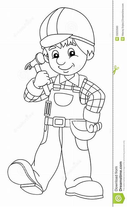Worker Construction Coloring Children Pages Workers Colouring